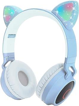 Auriculares Bluetooth para niños Auriculares inalámbricos de Oreja de Gato con luz LED Intermitente (Azul Claro): Amazon.es: Electrónica