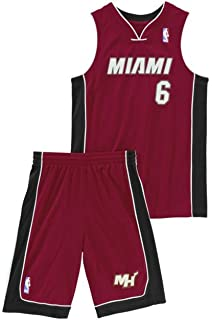 adidas Performance Miami Heat NBA LeBron James niños del baloncesto de Jersey Rojo X22275