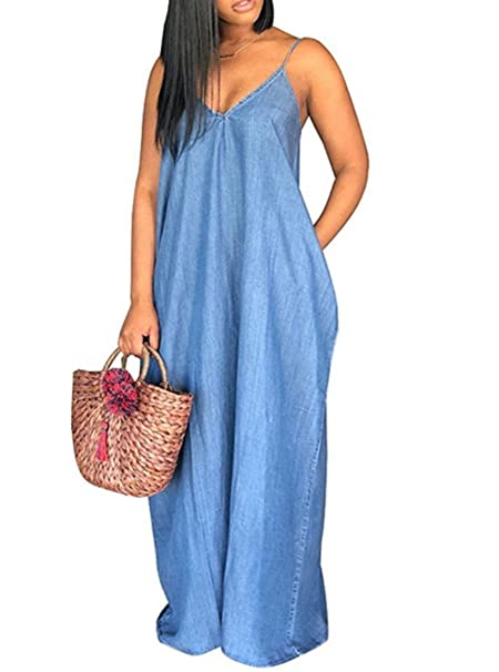 MNLYBABY Women Plus Size Spaghetti Strap Dresses Casual Denim V Neck Loose  Maxi Dress