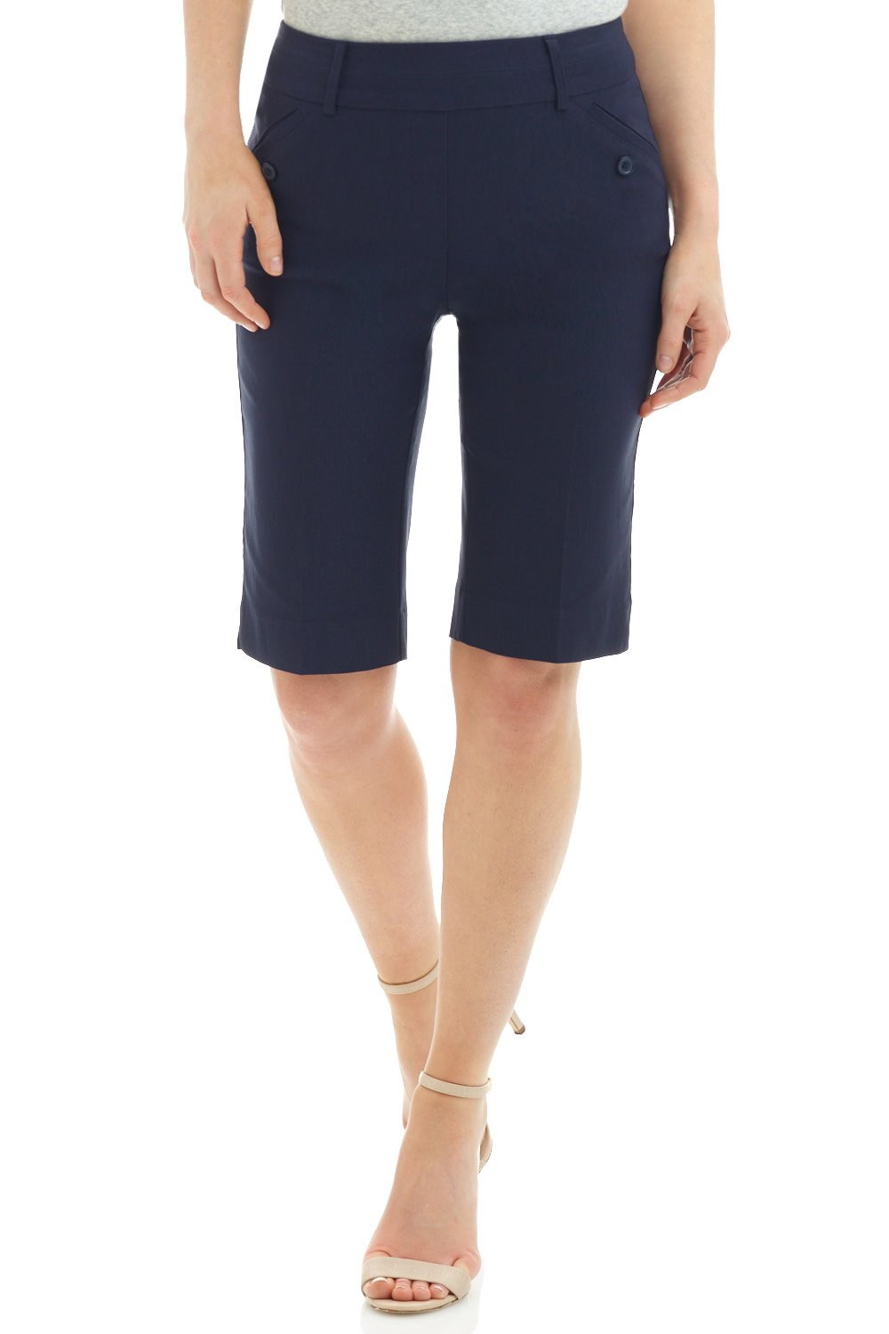 Rekucci Women's Ease in to Comfort Fit Modern Pull On Bermuda Short with Pockets (12,Navy)
