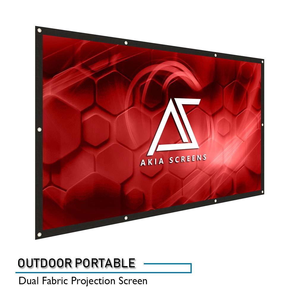 "Akia Screens 120-inch Indoor Outdoor Portable Projector Screen 16:9, Anti-Crease Foldable Dual Front Rear Retractable 120"" Projection Screen DIY Hang Anywhere, AK-DIYOUTDOOR120H"