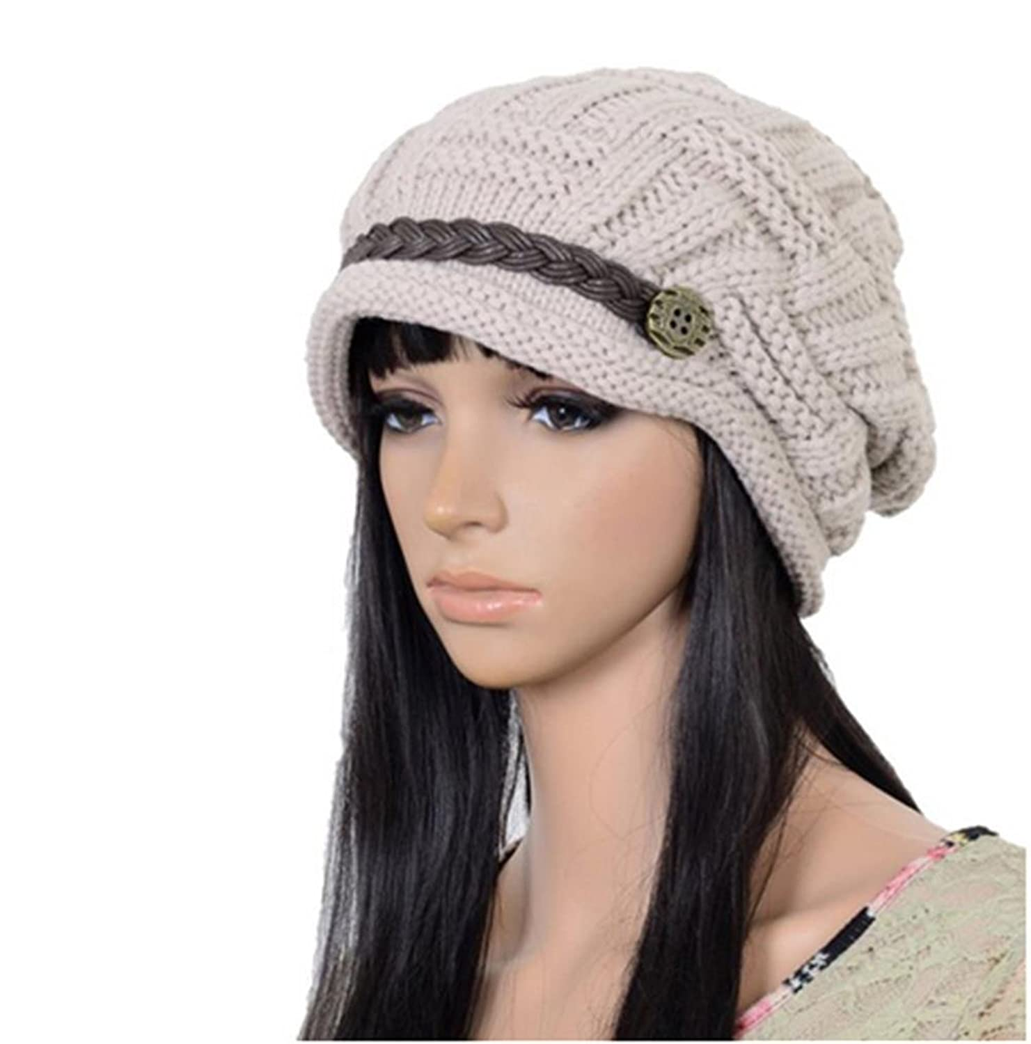 Upspirit Fashion Women Knit Snow Hat Winter Snowboarding Beanie Crochet Cap  Hats-Beige 9d4f54537ed5