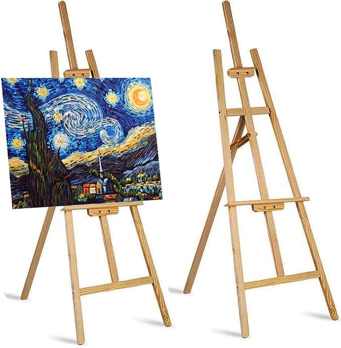 Homgrace Studio Caballetes 6 pies/1,8 m de alto artista boda mesa soporte de mesa soporte artístico artista inclinación madera de pino dibujo tabla portátil ajustable trípode para pintor: Amazon.es: Hogar