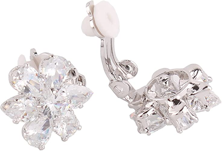 Grace Jun Silver Plated or Gold Plated Opal Flower Shape Clip on Earrings Non Piercing for Women