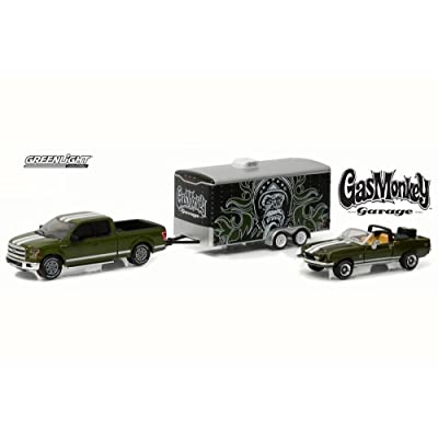 Ford 2015 F-150 and 1968 Shelby GT500KR Convertible with Enclosed Car Hauler Gas Monkey Garage (2012-Current TV Series) 1/64 by Greenlight 31010 A: Toys & Games