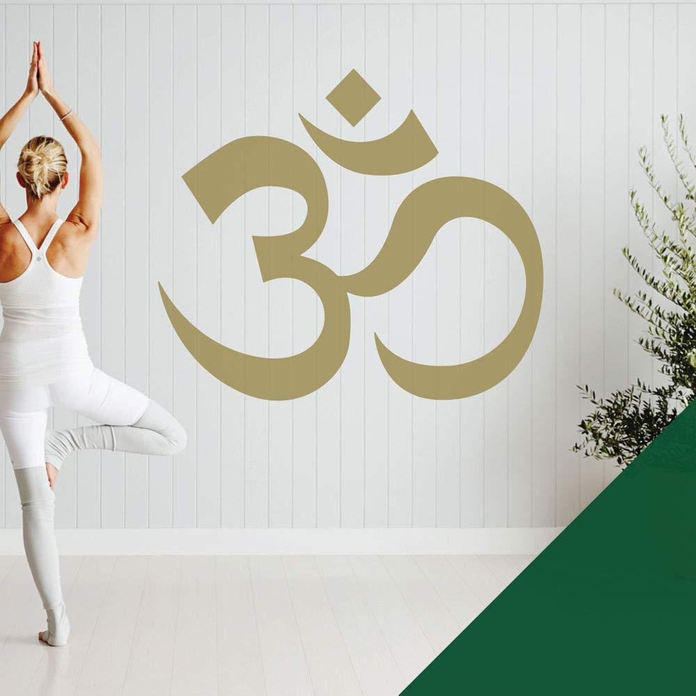 Forest XLarge (990 x 850mm) Om Symbol  Yoga Meditation  Studio Wall Art Sticker [gold]