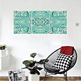 Liguo88 Custom canvas Turquoise Decor Collection Arabic Islamic Persian Ottoman Motifs Turkish Iranian Ethnic Artsy Mandala Boho Style Bedroom Living Room Wall Hanging Yellow Blue