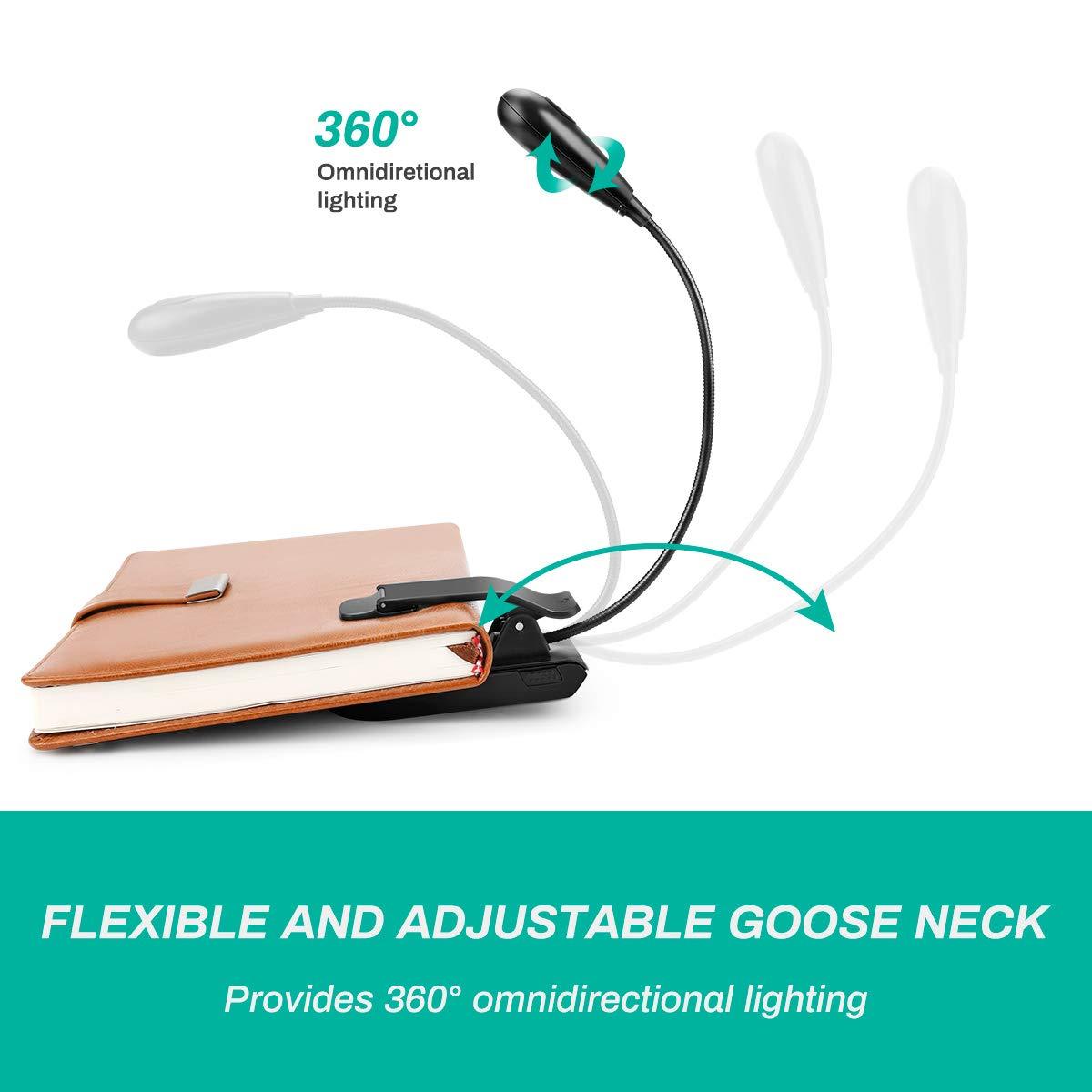 Bett LED Klemmleuchte,7 LED Buchlampe,3 Farbtemperatur Buch USB Wiederaufladbare LED Leselampe f/ür B/üro Musikst/ände 360/° Flexibel 3 Helligkeit eBook Reader Laelr Leselampe Buch Klemme