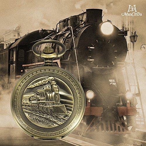 ManChDa Antique Mens Pocket Watch Skeleton Mechanical Bronze Case 3D Steam Train Railroad Ruman Numerals