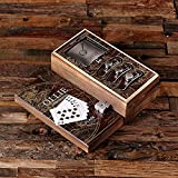 Flasks with Personalized Poker Chips, Cards, Dice Gambling Gift Sets _Explorer_Small_Brown