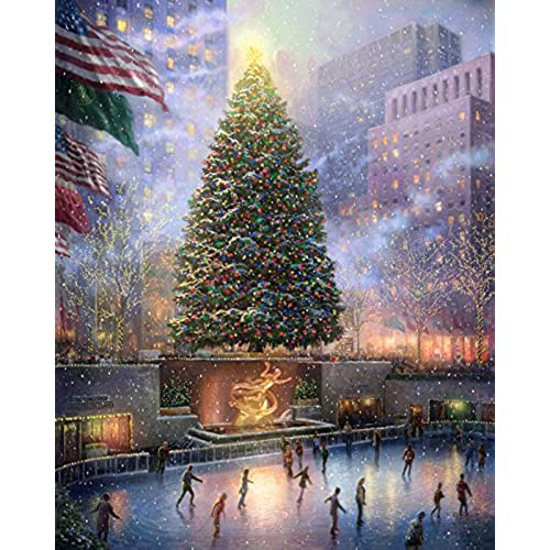 thomas christmas streetscape snowy day vivid picture print on canvas oil painting art wall for home decoration with framed 40cm x 50cm - Raz Christmas Decorations 2012
