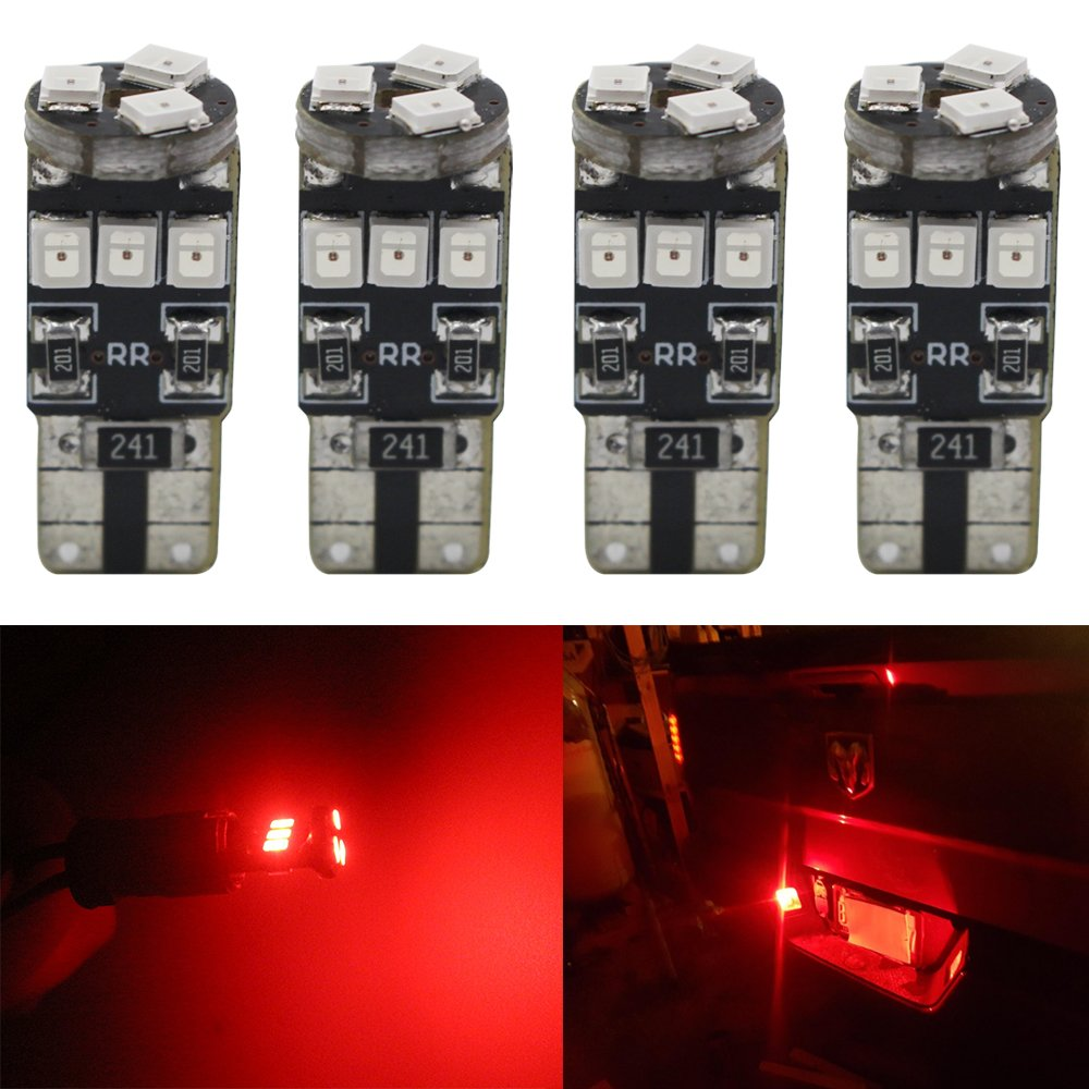 4-Pack T10 194 168 921 450Lums Red Extremely Bright Canbus Error Free LED Light 12V, 9-SMD 2835 Chipsets Car Replacement Bulb For W5W 168 2825 Map Dome Courtesy License Plate Side Marker Light Amazenar(TM) AZ-T10/194/168-2835/921/912-9SMD