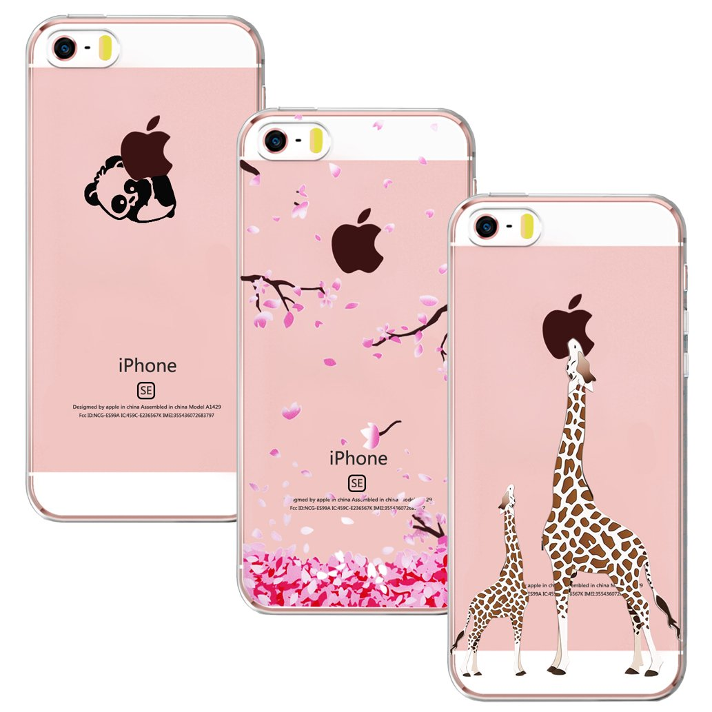 939abe846b2ac0 Yoowei 3-Pack iPhone SE Case,iPhone 5S Case,iPhone 5 Case,Crystal Clear  Soft Silicone Gel TPU Case Stylish Cute Cartoon Flowers Pattern Bumper Cover  for ...