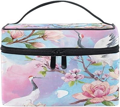 Bolsa de Maquillaje de Viaje Acuarela Grúa de Flor Japonesa Estuche cosmético portátil Organizador Bolsa de Aseo Bolsa de Maquillaje Estuche de Tren de Maquillaje fo: Amazon.es: Equipaje