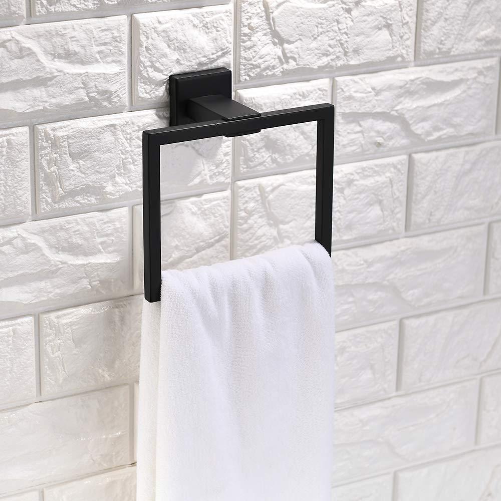 Turs 3 piezas de ba/ño accesorio conjunto de sus 304 inoxidable acero inodoro soporte de papel toalla bar//soporte albornoz gancho de pared acabado negro mate Q6008BK