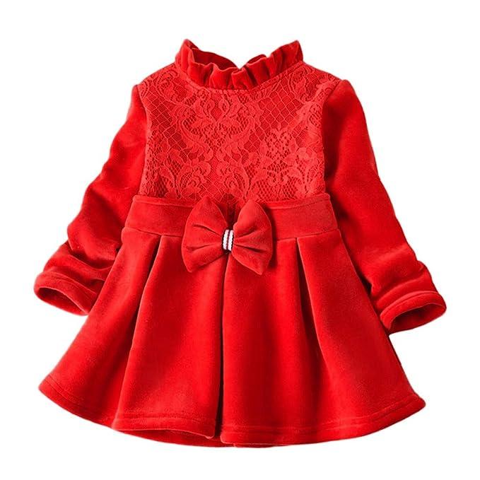 30375f01b K-youth Vestido de Niña Vestido Bautizo Bebé Niñas Terciopelo Caliente  Encaje Volante Arco Ropa