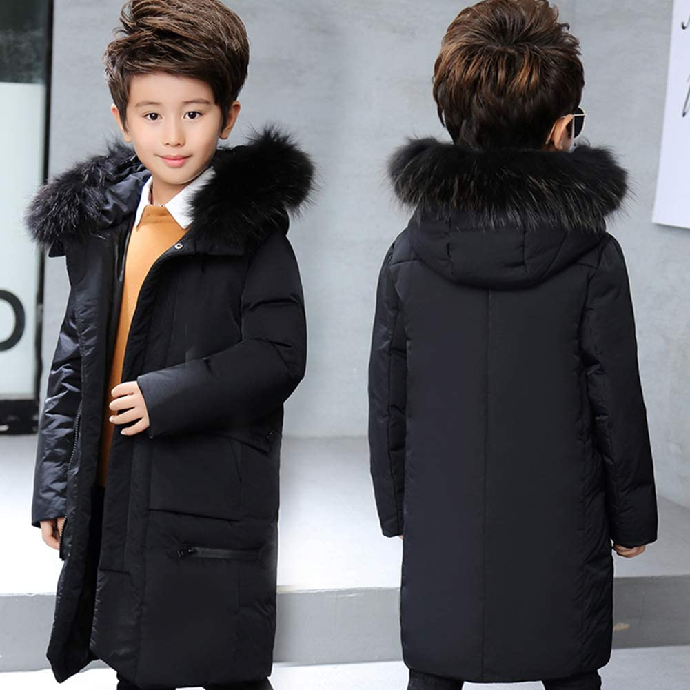 M/&A Boys Winter Thickened Coats Fur Hooded Puffer Down Jacket