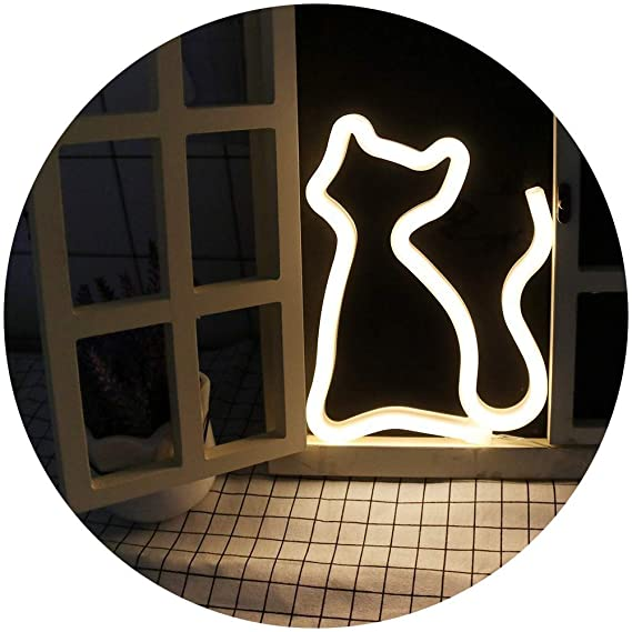 Amazon.com: Lámpara decorativa de neón con diseño de gato ...