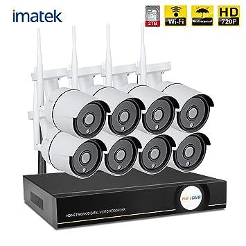 IMATEK 8CH Sistema de cámara de vigilancia inalámbrica + 8 HD Cámara Impermeable de Interior/