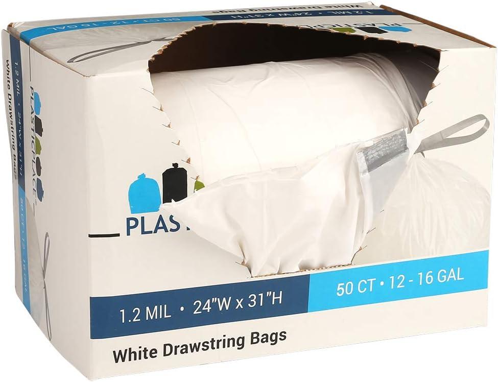 Plasticplace 12-16 Gallon X-Tall Drawstring bags, 50 bags
