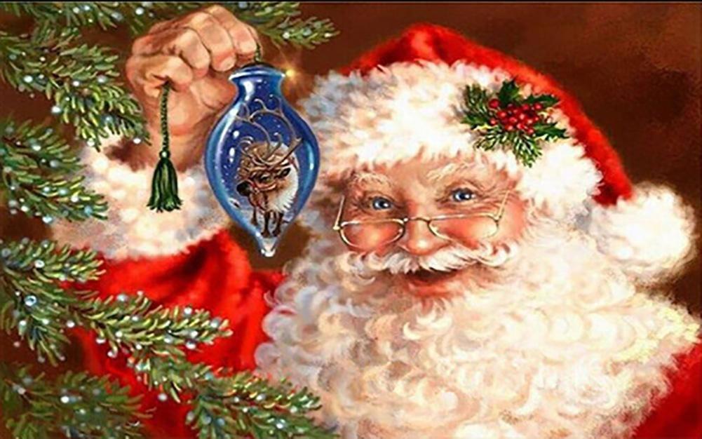 Santa Claus Diamante Pintura 5D DIY Navidad Completo Taladro Arte Resina Recamado Pegar Accesorios Cruzar Puntada útiles Kits Diamante Mosaico Pegatina Lona Para Oficina Muro Decoración , circular diamond , 7056 cm