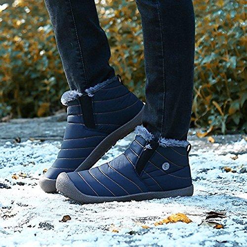 Botas Caldo Blue Neve Nero Scarpe Stivali Invernali 36 Caviglia 48 Outdoor Uomo de Piatto Impermeabile Blue Stivaletti Rioneo Grigio w76g0t