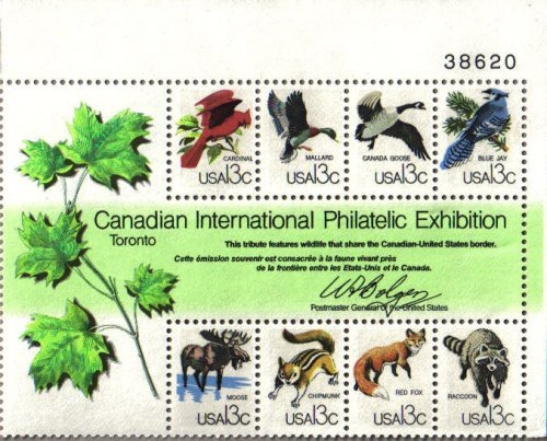 1978 CAPEX CANADIAN INTL PHILATELIC EXHIBITION ~ CANADA BORDER ANIMALS #1757 Souvenir Plate Block of 8 x 13¢ US Postage (Stamp Exhibition Block)