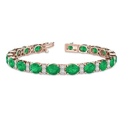 de6f911602edf Amazon.com: Diamond and Oval Cut Emerald Tennis Bracelet 14k Rose ...