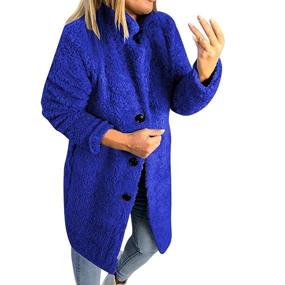 LeeMon Damen Mantel Plüschjacke Frauen Winter Warme Plüschmantel Stehkragen Revers Winterjacke Freizeit Steppjacke Wollmantel Cardigan Jacke Parka
