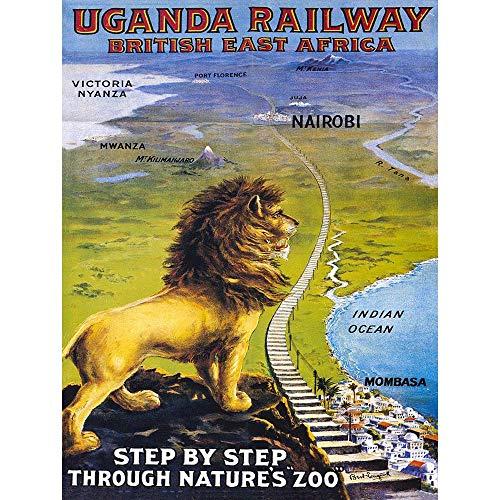 TRAVEL UGANDA RAIL AFRICA LION TRAIN KILIMANJARO VINTAGE POSTER ART PRINT 12x16 inch 30x40cm 1059PY