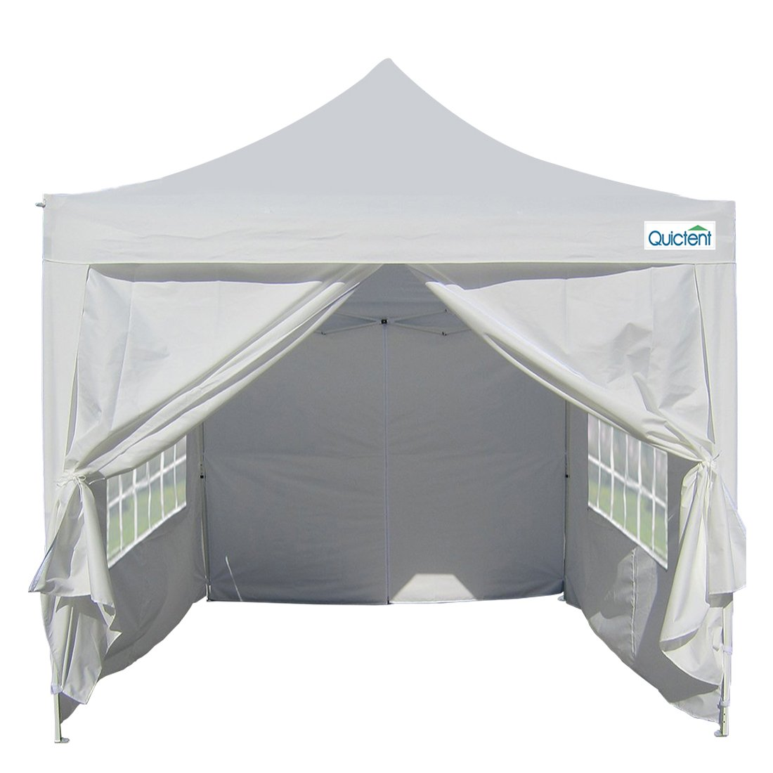 Quictent Silvox Waterproof 8x8' EZ Pop Up Canopy Commercial Gazebo Party Tent White Portable Pyramid-roofed Style Removable Sides With Roller Bag