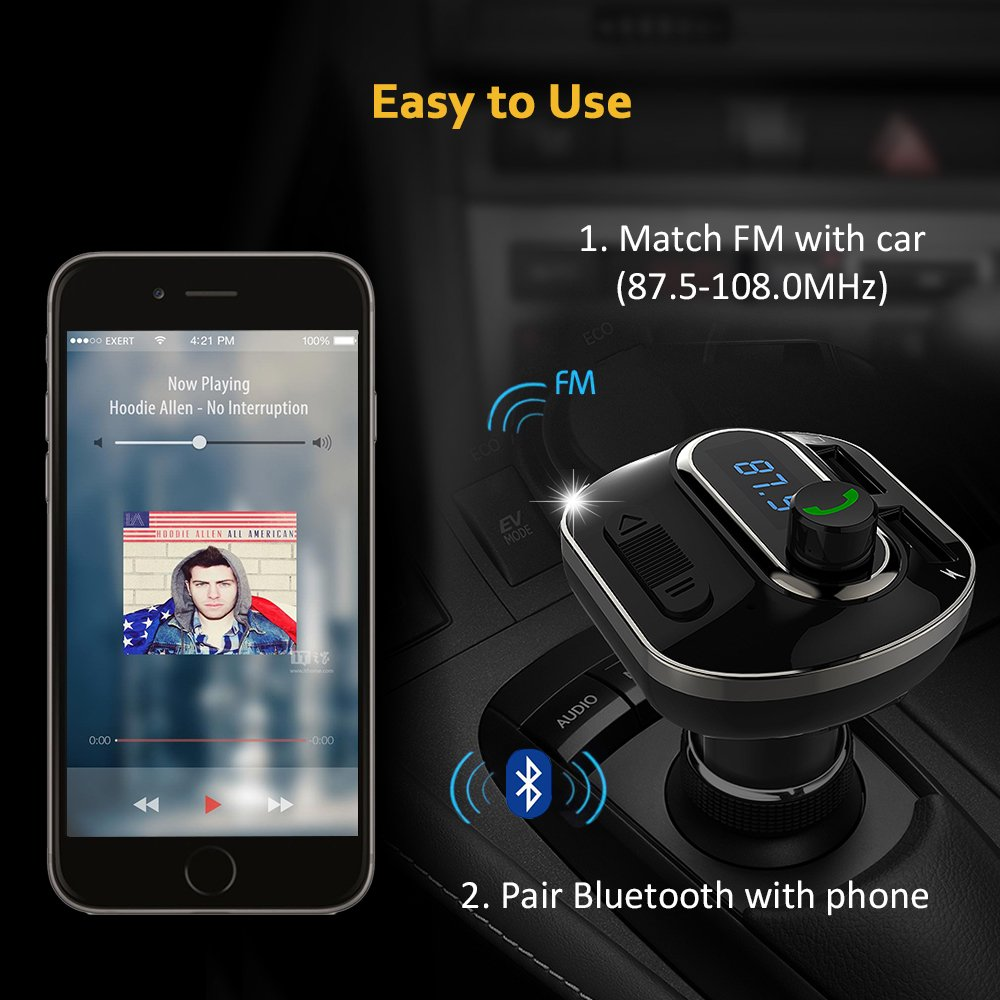 FM Transmitter, Bcway Wireless Radio Adapter Bluetooth Car Kit MP3 Player, 5V/3.1A Dual USB Ports Car Charger, Support TF Card + U Disk, Hands Free Calling for iPhone, Samsung, etc by AYY (Image #6)