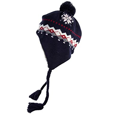 380072a8d34 SiggiHat Womens Wool Knit Peruvian Earflap Beanie Pom Winter Warm Fleece  Lined Ski Snowboard Cold Weather Hat  Amazon.co.uk  Clothing