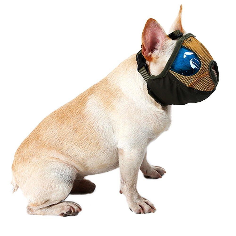 S, Grey DELIFUR Dog Muzzles Mesh Short Snout Dog Pet Muzzle Anti Bite Mask Brethable Mouth Muzzles Basket for Bulldog Pug and SharPei