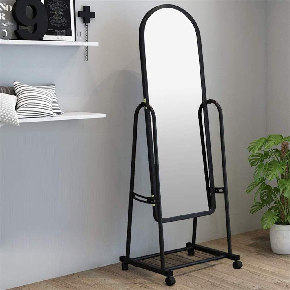 Tian Simple Full Body Can Mobile Free Floor Mirrors PVC Frame Bathroom Vanity Mirror 152 31 cm Floor Mirror (Color : Black, Size : 15231cm) by Tian