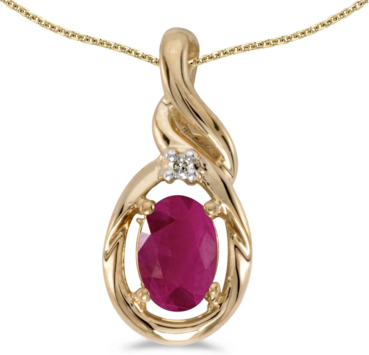 "10k White Gold Oval Ruby And Diamond Pendant with 16/"" Chain"