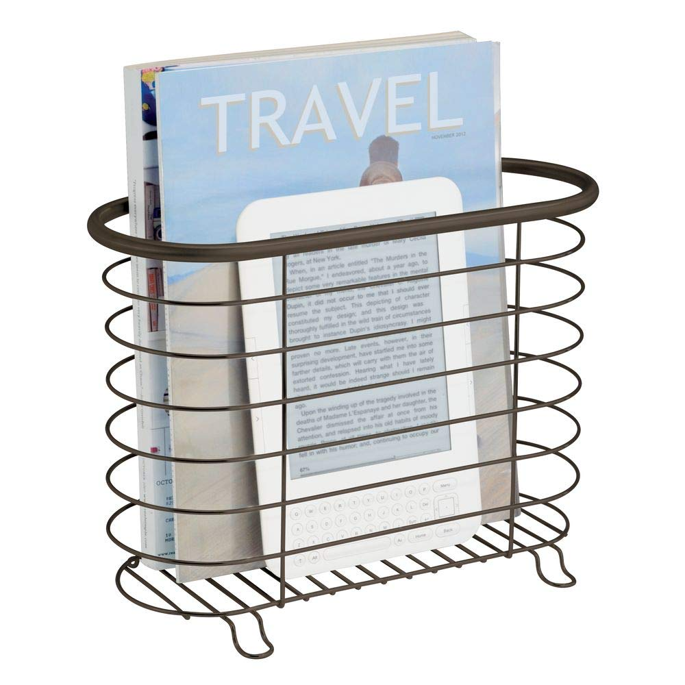 mDesign Decorative Metal Farmhouse Magazine Holder and Organizer Bin - Standing Rack for Magazines, Books, Newspapers, Tablets in Bathroom, Family Room, Office, Den - Bronze