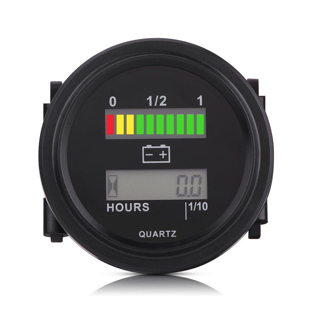 LED Jauge dIndicateur de Batterie Num/érique Testeur de Batterie Jauge de Mesure de Moniteur de Capacit/é de Batterie 12V 36V 72V avec Compteur Horaire 48V 24V