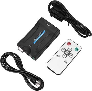 VGA a SCART Adaptador convertidor de Video y Audio USB con Control Remoto para HD TV DVD Box: Amazon.es: Electrónica