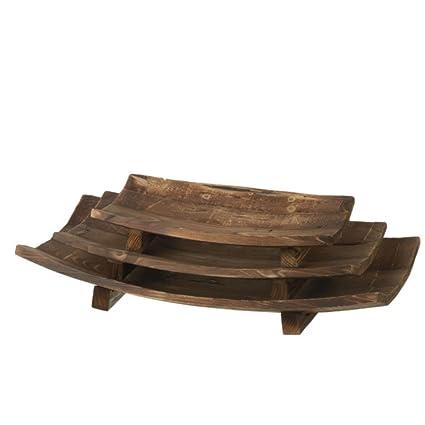 Juego de 3 bandejas de decorativos de madera rústico curvado con stands