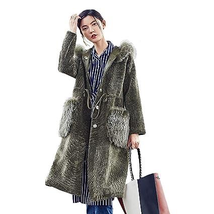 Abrigos algodón para Mujer Largo de Invierno para Mujer Piel Piel Largo Piel de Oveja Tijeras