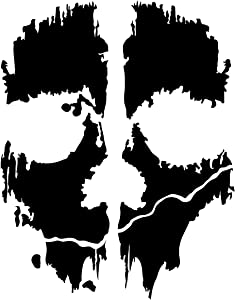 Call of Duty Ghosts Mask Decal Sticker, Please Message Us Your Color Choice, H 7 By L 5.5 Inches