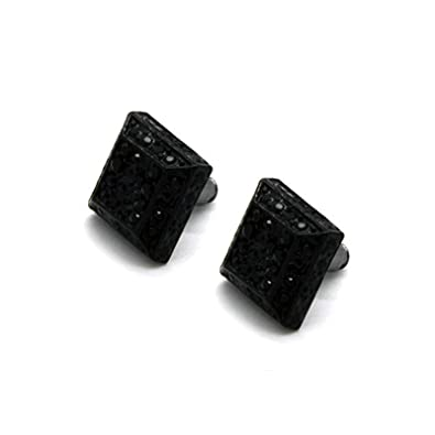 13MM Square 3D Pyramid Silver Tone Iced Micro Pave Hip Hop Stud Earrings