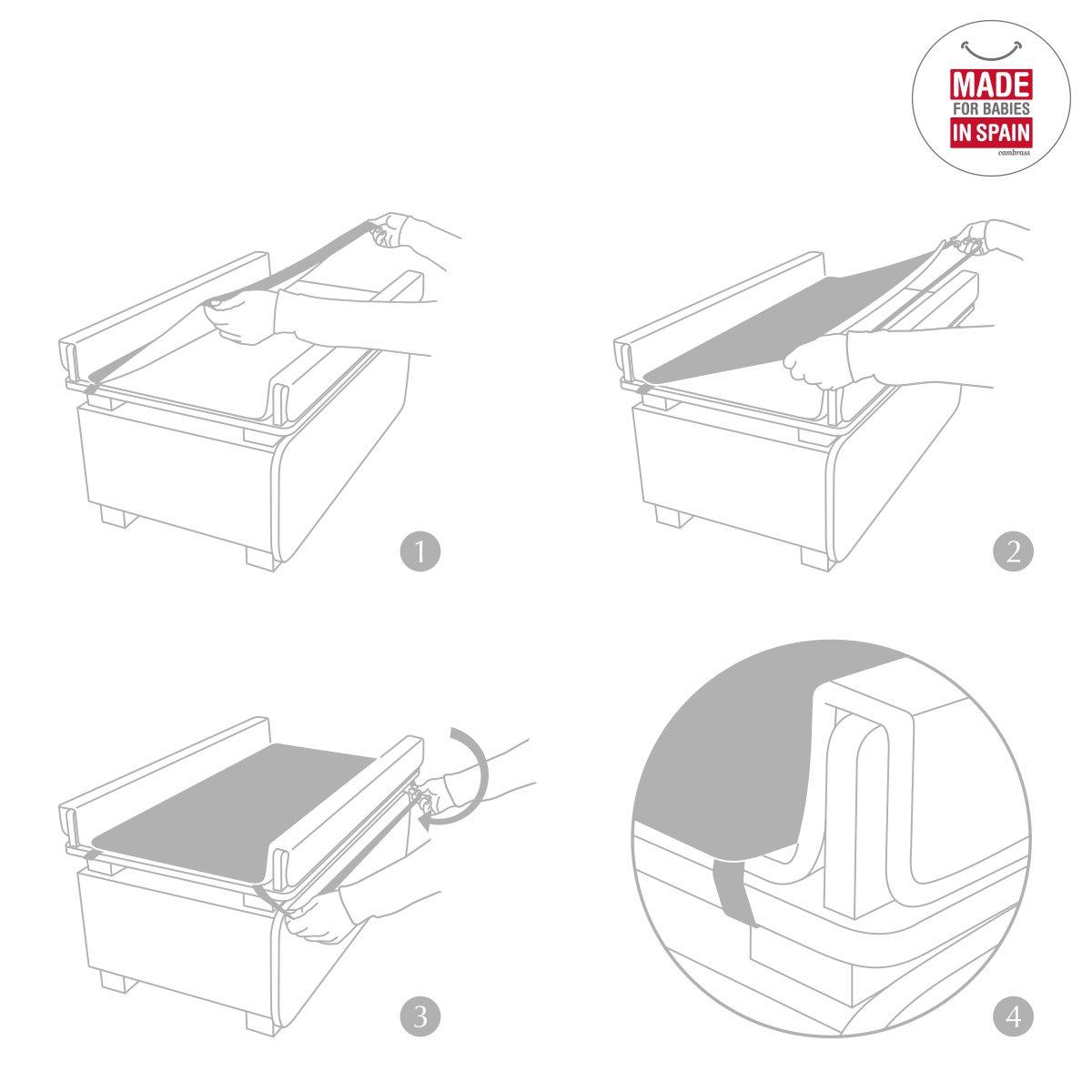 Cambrass Liso E 82 x 37 cm Protector cambiador ba/ñera color blanco