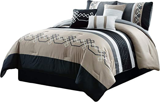 7 PC Black /& White Embroidered Microfiber Comforter Set Full and Queen King Size
