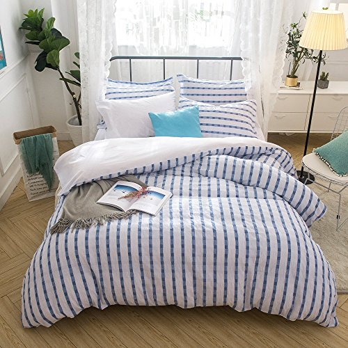 Lausonhouse Cotton Duvet Cover Set,100% Cotton Woven Seersucker Duvet Cover Set, Cotton Yarn Dyed Striped Bedding Set - Queen - Blue