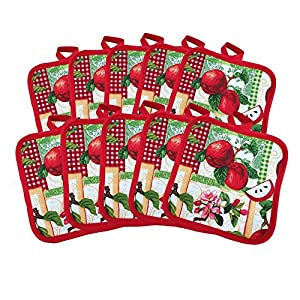 "(Ten) 10 Pack Pot Holders 6.5"" Square Solid Color Everday Quality Kitchen Cooking Chef Linens"