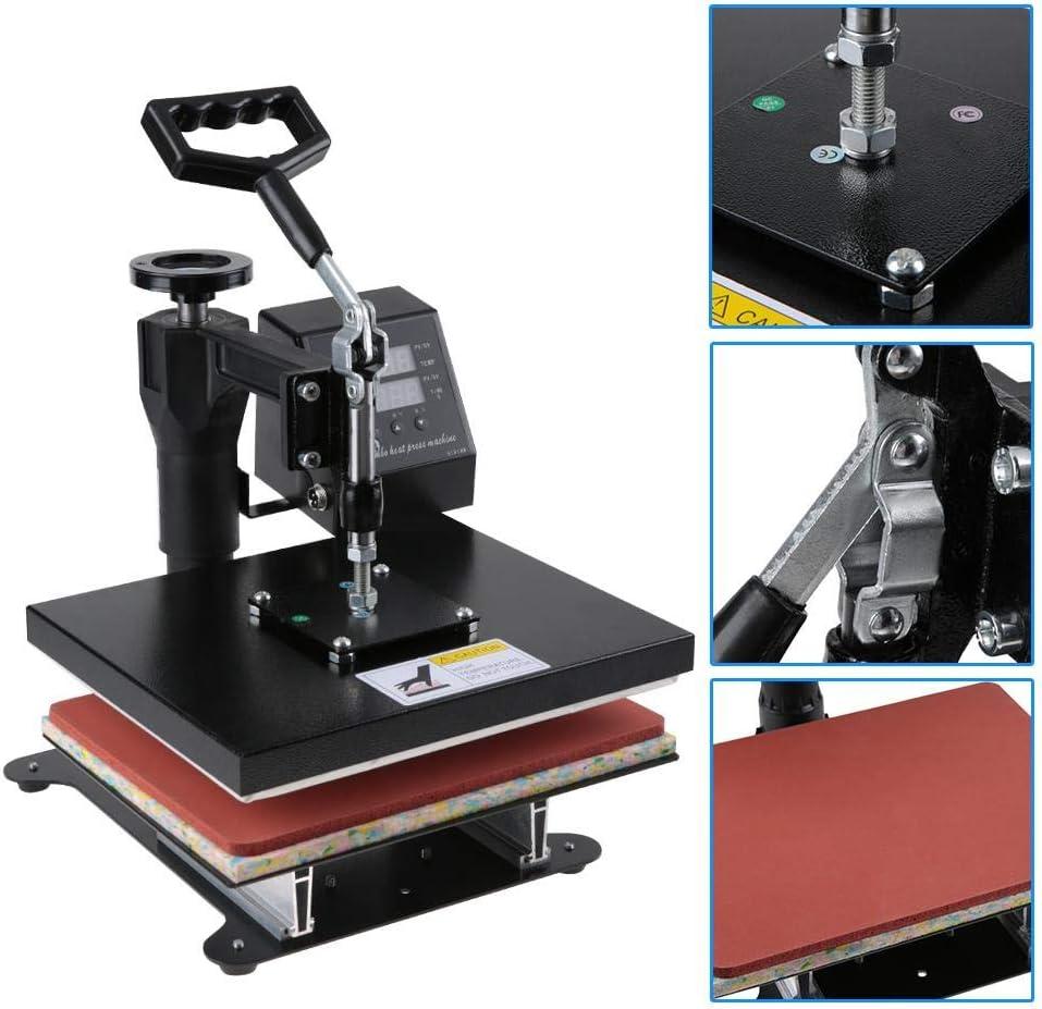 Prensa de calor de 750 W, profesional, para impresión térmica, para camiseta, prensa de calor plana 0~250 °C, temperatura de la pantalla digital: Amazon.es: Hogar
