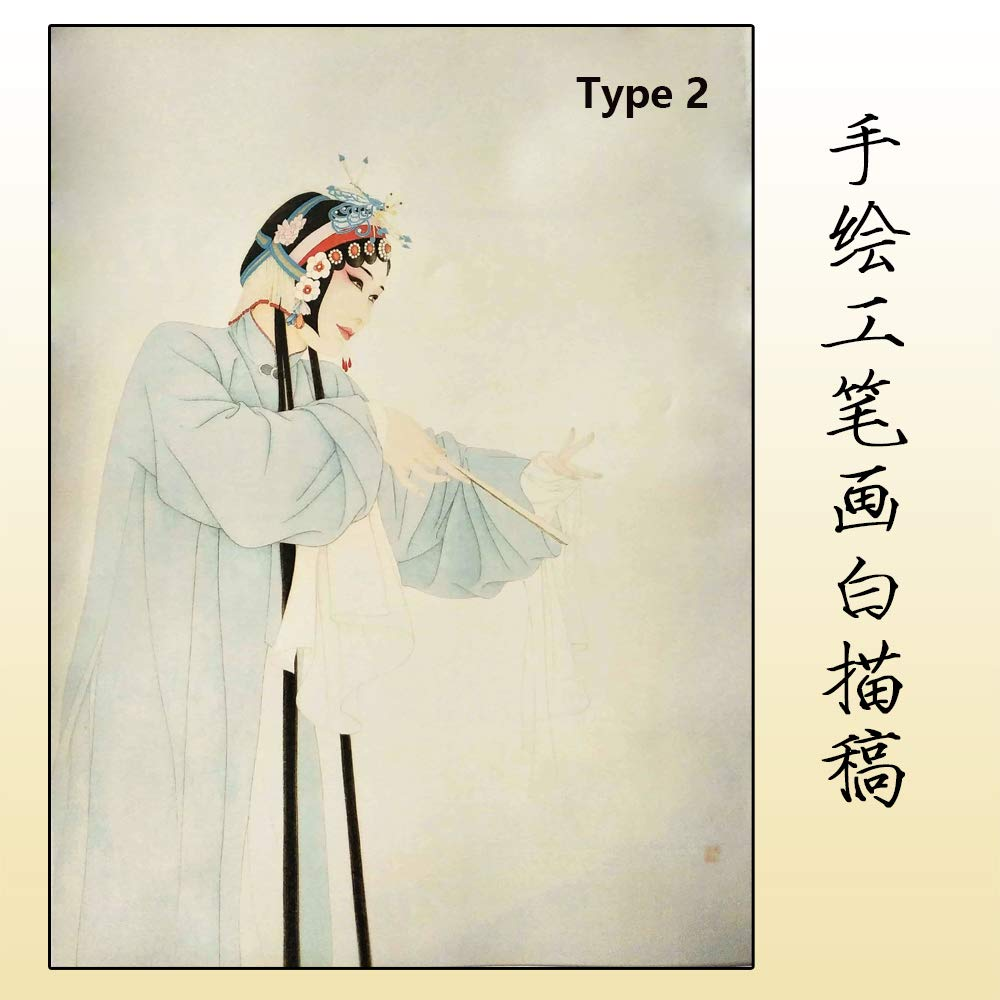 Chinese Opera Characters PaintinginElaborateStyle/Draft of Line Drawing for Color Filling/Nice Gift for Festival/Draft of Chinese Opera Characters by softgege