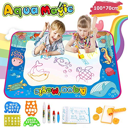 OUNUO Aqua Magic Doodle Mat Large Water Doodle Drawing Mat Kids Painting Writing Mat Educational Toys for Age 2 3 4 5 6 7 8 9 10 Year Old Girls Boys Age Toddler Gift ()